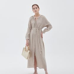 STRIPE STRAP MAXIS DRESS BEIGE