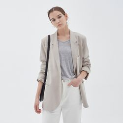 SUMMER LINEN SINGLE JACKET GRAY