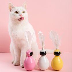 고양이 강아지 로보트 오뚝이 깃털 장난감 스트레스해소 용품