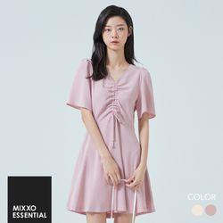 V넥 가슴 스트링포인트 핏앤플레어 MIWOWA722G
