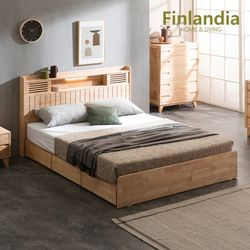 네이쳐 R100 수납LED 침대 Q(퀸)+20T라텍스독립매트