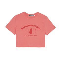 (W) 리틀 캣츠 크롭 티셔츠 코랄