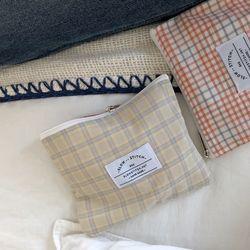 mini check pouch ( pastel yellow )