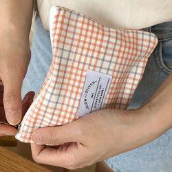 mini check pouch ( orange )