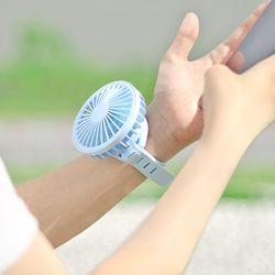두 손이 자유로운 3단 휘아이 실리콘 손목형 선풍기