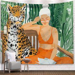 태피스트리 패브릭 포스터 - 레오파드 (150x130cm)