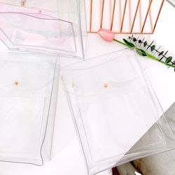 PVC 수납 포켓 파우치 백 홀로그램 투명 글리터 3종