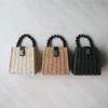 구슬 손잡이 사각 라탄 미니 숄더백 (3color)