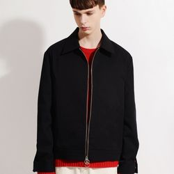 SOLID MINIMAL ZIPUP JACKET (BLACK)