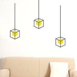 심플한 육면체 전등 인테리어스티커 3p small