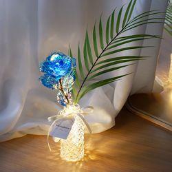 야자잎 홀로그램 블루장미 플라워 무드등
