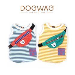 스트라이프 힙색 나시 강아지 티셔츠 애견 여름 옷