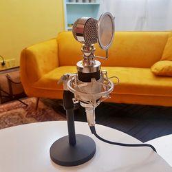 1인개인방송용유튜브장비 고품질 T4스탠드마이크 실버