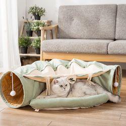 봉봉펫 고양이 녹차 터널 방석