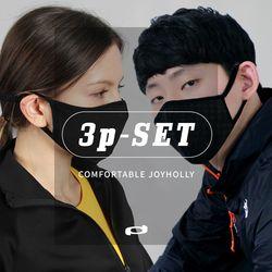 향균 4중 성인용 필터교체형 블랙 마스크 3장세트 교체필터60매