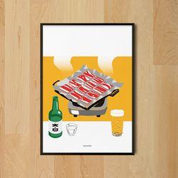 냉동삼겹살 식당 M 유니크 인테리어 디자인 포스터 A3(중형)