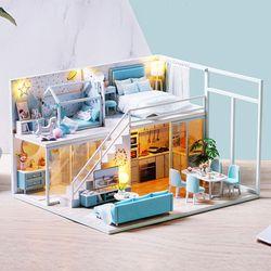 [adico]DIY 미니어처 하우스 - 블루 펜트하우스