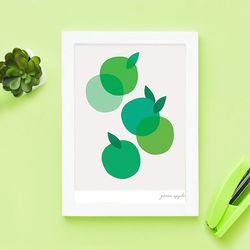 미니멀 그린 애플 A4 사과 포스터