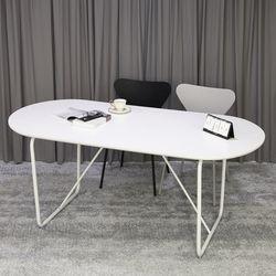 베스타 1800 화이트 타원형 식탁 라운드 테이블 4인 6인