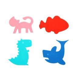 이크 공룡 상어 고양이 물고기 티코스터 4P