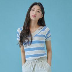 슬림 컬러 스트라이프 스웨터 MIWKAA711T
