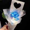 하트 홀로그램 블루 장미 LED 꽃다발