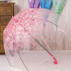 자동 우산 고급 투명 벚꽃 튼튼한 가벼운 장우산 핑크