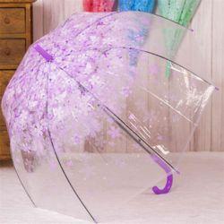 자동 우산 고급 투명 벚꽃 튼튼한 가벼운 장우산 퍼플