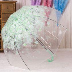 자동 우산 고급 투명 벚꽃 튼튼한 가벼운 장우산 그린