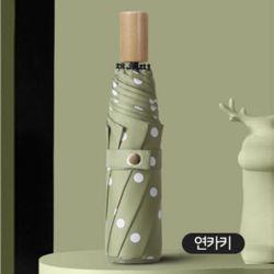 원목 손잡이 3단 고급 UV 차단 이쁜 자동 우산 연카키