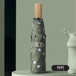 원목 손잡이 3단 고급 UV 차단 이쁜 자동 우산 카키