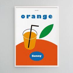 오렌지주스2 M 유니크 인테리어 디자인 포스터 카페 A3(중형)