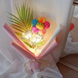 홀로그램장미 무지개 스마일 꽃다발