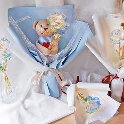 홀로그램 장미 크리스탈 꽃다발 3송이 곰돌이 인형꽃다발