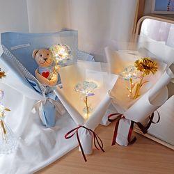 홀로그램 장미 LED 꽃다발 무드등 3송이 곰돌이 인형꽃다발