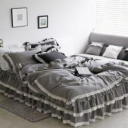 특급호텔 바이오 워싱 광목 클래식 침대스커트세트(Q)