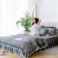 여자의침실 특급 바이오 워싱 광목 매트커버세트(K)