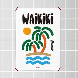 와이키키 하와이 M 유니크 인테리어 디자인 포스터 A3(중형)