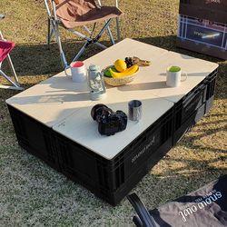 스노우아울 유틸리티 폴딩박스 블랙+우드상판