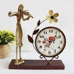 바이올린 조각상 동공예품 꽃 탁상시계 SCB-503