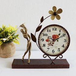골프 조각상 동공예품 꽃 탁상시계 SCB-504