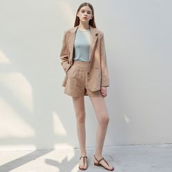 SERA LINEN JACKET+SHORTS SET [CAMEL]