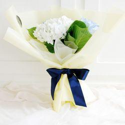 플플 수국 화이트+블루 3대 믹스 생화꽃다발