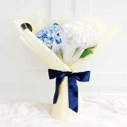 플플 수국 화이트+블루 2대 믹스 생화꽃다발