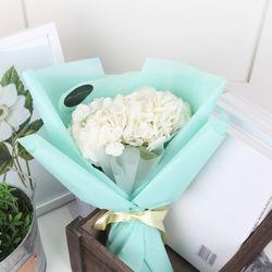 플플 수국 화이트 생화꽃다발 (플로리스트 포장)