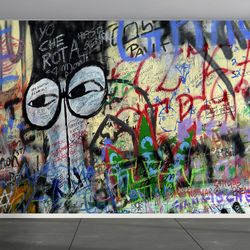 유명한 그래피티 패브릭 디자인벽지 아트벽지
