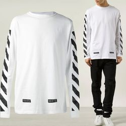 리오더 백 사선프린트 롱 슬리브 티셔츠 AU2001 03 00