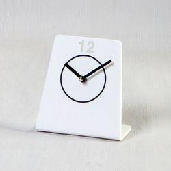 아크릴 화이트 L자 모던 서클 디자이너 테이블 저소음 시계