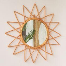핸드메이드 스타 라탄 거울
