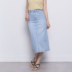 W27 denim washing long skirt  light